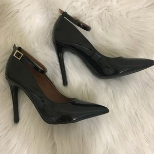 Black faux leather stiletto heels!